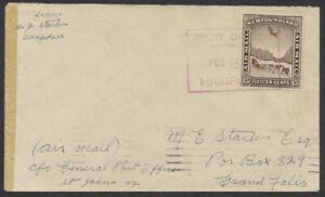 1931 Newfoundland Hampden to St John's 1st Flight Cover, Feb 18th Backstamp