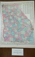 "Vintage 1902 GEORGIA Map 11""x14"" Old Antique Original ROSWELL THOMASVILLE"