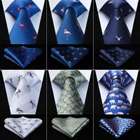 Animal Novelty Tie Mens Silk Necktie Pocket Square Set Classic Ties Wedding AN01