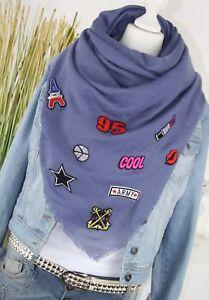 TUCH XXL SCHAL mit PATCHES Fashion Sticker Schal Tuch JEANSBLAU SCARF NEU H/M-65