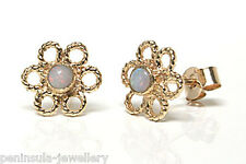 9ct Gold Opal Daisy Stud earrings Made in UK Gift Boxed Xmas Gift Christmas