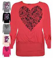 Ladies Batwing Top New Womens Long Sleeved Jersey Tunic Heart T-Shirt UK 8-14