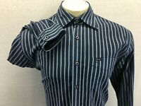 Faconnable Men's Size L Long Sleeve Button Front Blue Striped Shirt