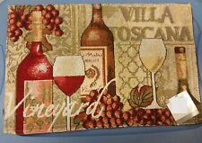 """Rare Set of 2 Tapestry Placemats, 13"""" x 19"""", WINE & GRAPES, VILLA TOSCANA"""