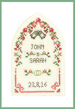 Cross stitch Wedding Greetings card with arch - complete kit on 16 aida in pinks