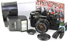 Canon AE-1 Classic FINITURA NERO 35mm Film Camera Canon 1:1 .8 F = 50mm focale fissa.