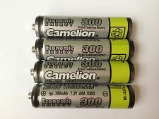(4) Camelion AAA NiCD 300mah 1.2V Rechargable Batteries - For Solar Lights
