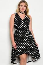 NEW..Beautiful Plus Size Polka Dot Hi-Lo Hemline Faux Wrap Dress..SZ18/2XL