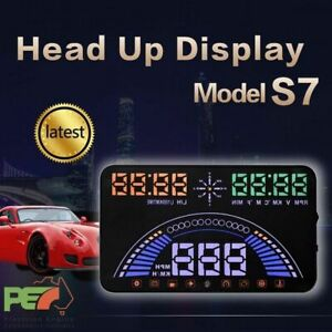 "S7 5.8"" Head Up Display OBD2 & GPS Windscreen Speedometer Sys For Jeep Wrangler"