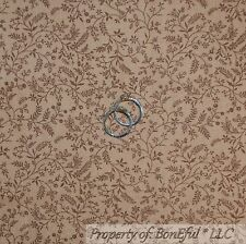 BonEful Fabric FQ Cotton Quilt VTG Brown Tan Berry Calico Leaf Toile Flower Fall