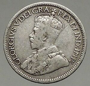 1916 CANADA - Original Antique Silver 10 Cents Coin under King GEORGE V i56802
