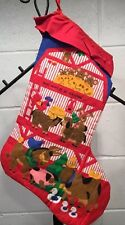Handmade Quilted Christmas Stocking Not Even A Mouse Tree Red Stripe Animal Barn