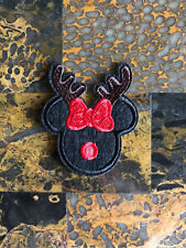 """1 Minnie Mouse Reindeer Xmas Iron On Sew On Patch 2.75"""" L x 2.5"""" W SAME Day"""