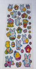 33 EASTER STICKERS-HOLOGRAPHIC EGGS/BUNNY/CHICK-CRAFT/CARD/BONNET DECORATION-