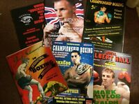 Various boxing programmes B. Calzaghe, Ali, Turpin, Downes, Hamed, joshua