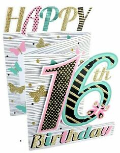 16th BIRTHDAY 3D POP UP CARD BY SECOND NATURE  AGE 16 FEMALE  3D CUTTING EDGE