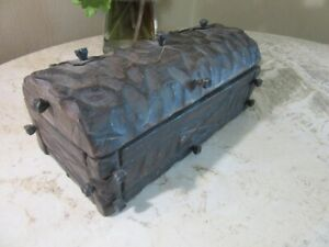 Vintage 1970's carved wood treasure chest  box with iron nails