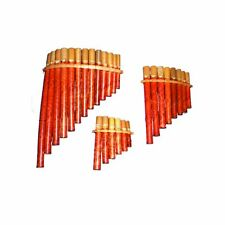 More details for my family house bamboo pan flute in red with pipes of different notes