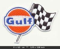 GULF Aufnäher Aufbügler Patches Motorsport Rennsport Racing Team Rennflagge