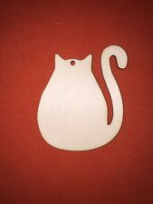 10 medium size CAT 7,5cm  SHAPES PLAIN WOODEN EMBELLISHMENTS CRAFT HANGING TAG