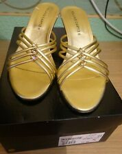 ROLAND CARTIER GOLD STRAPY DIAMANTE KITTEN HEEL MULES UK 5 (38) BNWB **REDUCED
