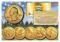 2015 America The Beautiful 24K GOLD PLATED Quarters Parks 5-Coin Set w/Capsules