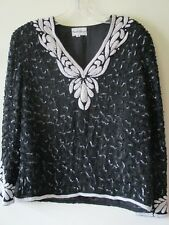 1990s Gatsby Blouse TOP Frank Usher Black IVORY Pearl Beaded SILK CRUISE Sz M