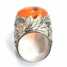 ART NOUVEAU STYLE HONEY AMBER NATURALISTIC RING 925 STERLING SILVER SIZE - 8