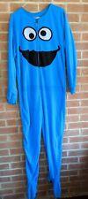 COOKIE MONSTER Footie Fleece Pajamas Union Suit Sesame Street Adult XL