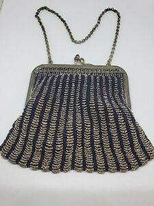 Antique Silver Blue Knit Silver Beaded Chainmaille Satin Lined Ladies Purse