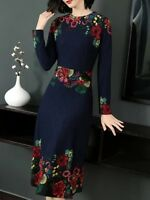 Womens A-Line Skirts Long Sleeve Floral Printed Slim Fit  Long Dress Casual