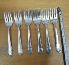 LOT OF 6 ANTIQUE 1835 R WALLACE 1914 DUBARRY AKA LOUVRE SILVERPLATE SALAD FORKS