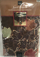 New Thanksgiving Fall Leaf Cluster Embroidered Tablecloth 60 in x 84 in oblong