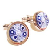 Lilac/Lavender Murano Millefiori Round Glass & Silver Inlay Chunky Cufflinks.