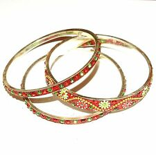 "BR493f Red & Silver 20mm Flowered Aluminum 3 Bangle Bracelet Set 2.75"" Inside"