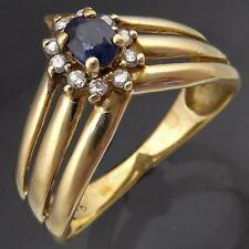 Triple Band 'V' style SAPPHIRE DIAMOND 9k Solid Yellow GOLD CLUSTER RING Sz M1/2