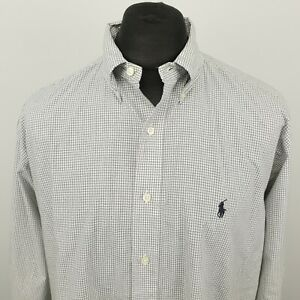 Ralph Lauren Mens Vintage Shirt XL Grey Classic Fit RELAXED Check YARMOUTH