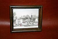 """Antique Small Wood Framed Etching Print - """"Zoological Gardens Regents Park"""""""