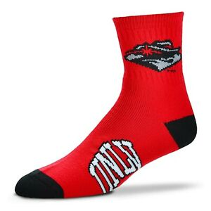 UNLV University Las Vegas Rebels NCAA FBF Team Deuce 1/4 Quarter Socks - *Large