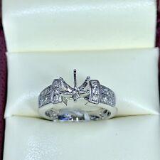 0.38ct Diamond Semi Mount Engagement Ring in 18k White Gold