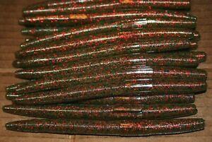 "6"" Stick Senko Style Watermelon Red Fleck 50 pack Bulk Bass Plastic Worm"