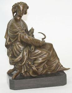 Vintage Hip Moreau Sculpture Agriculture Patinated Bronze Lady Farmer Statue