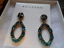 Silpada Brass Blue Crystal Peacock Punch Dangle Earrings KRP0035