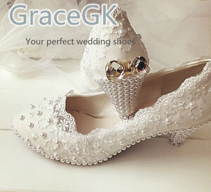 Lace white ivory crystal Women's Wedding shoes Bridal flats low high heel pump