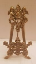 """Vintage Brass Easel Photo Art Stand - Rococo Style - 8""""  Tall"""