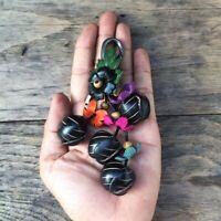 Black Grape Genuine Leather Keychain KeyRing Handmade Purse Floral Gift Charm