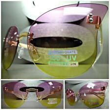 VINTAGE RETRO SHIELD FLAT RIMLESS CAT EYE Style SUN GLASSES Purple & Yellow Lens