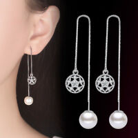 925 Silver Tassel Earrings Crystal Flower Shape Style Women Fashion Jewelry