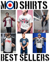 Mens MOD Organic T-Shirts Retro Target 60s 70s Scooter SKA Northern Soul Music