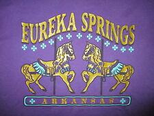 vtg 90s EUREKA SPRINGS ARKANSAS T SHIRT Merry Go Round Carousel Horses Purple LG